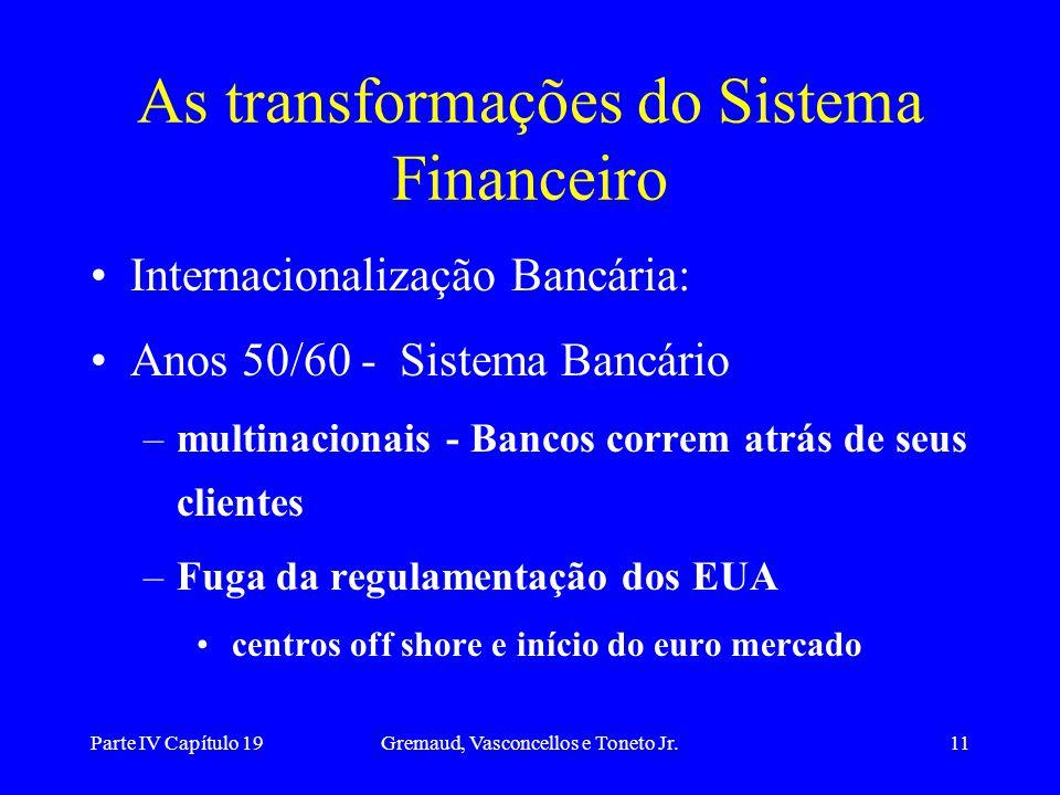 Parte IV Capítulo 19Gremaud, Vasconcellos e Toneto Jr.11 As transformações do Sistema Financeiro Internacionalização Bancária: Anos 50/60 - Sistema Ba