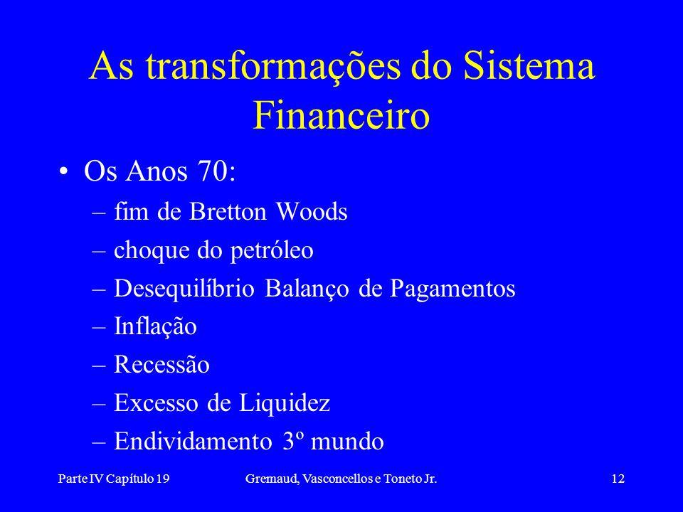 Parte IV Capítulo 19Gremaud, Vasconcellos e Toneto Jr.12 As transformações do Sistema Financeiro Os Anos 70: –fim de Bretton Woods –choque do petróleo