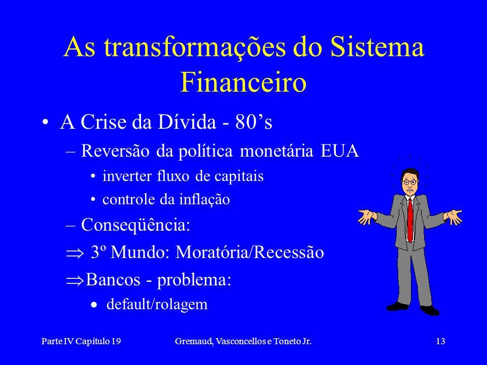 Parte IV Capítulo 19Gremaud, Vasconcellos e Toneto Jr.13 As transformações do Sistema Financeiro A Crise da Dívida - 80's –Reversão da política monetá
