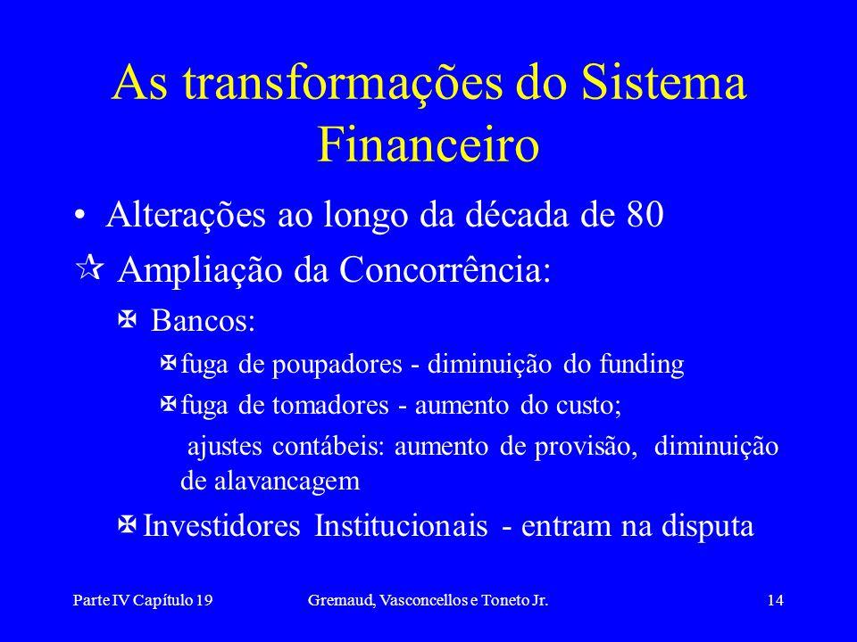 Parte IV Capítulo 19Gremaud, Vasconcellos e Toneto Jr.14 Alterações ao longo da década de 80 ¶ Ampliação da Concorrência: X Bancos: Xfuga de poupadore