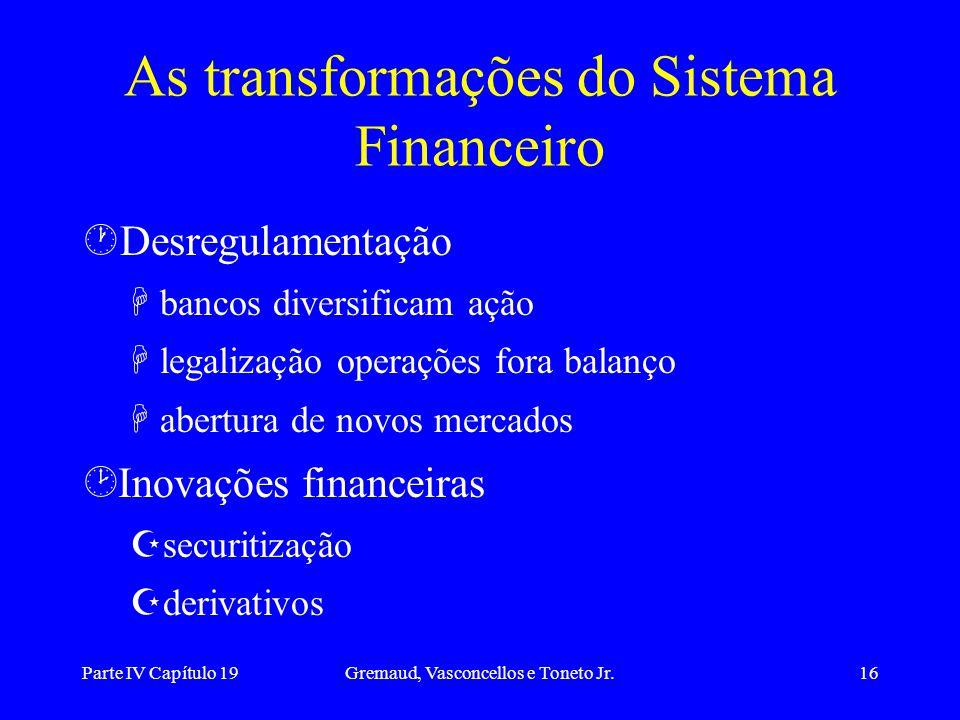 Parte IV Capítulo 19Gremaud, Vasconcellos e Toneto Jr.16 ·Desregulamentação Hbancos diversificam ação Hlegalização operações fora balanço Habertura de