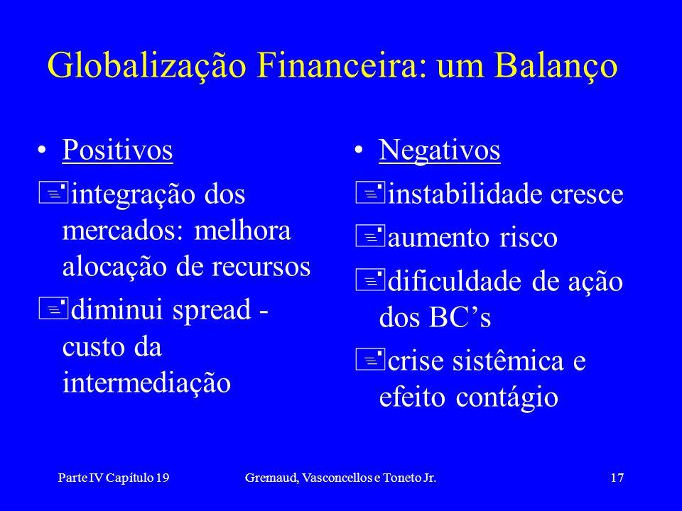 Parte IV Capítulo 19Gremaud, Vasconcellos e Toneto Jr.17 Globalização Financeira: um Balanço Positivos +integração dos mercados: melhora alocação de r