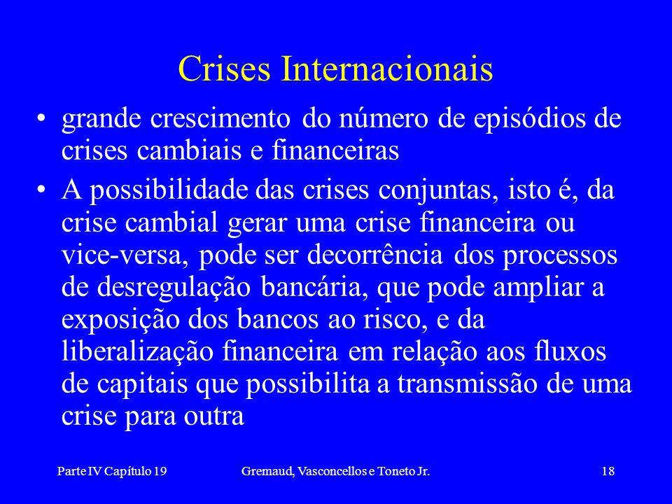 Parte IV Capítulo 19Gremaud, Vasconcellos e Toneto Jr.18 Crises Internacionais grande crescimento do número de episódios de crises cambiais e financei