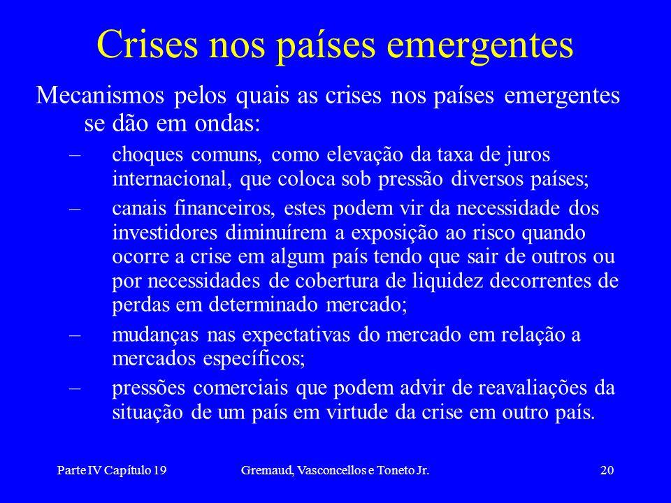 Parte IV Capítulo 19Gremaud, Vasconcellos e Toneto Jr.20 Crises nos países emergentes Mecanismos pelos quais as crises nos países emergentes se dão em