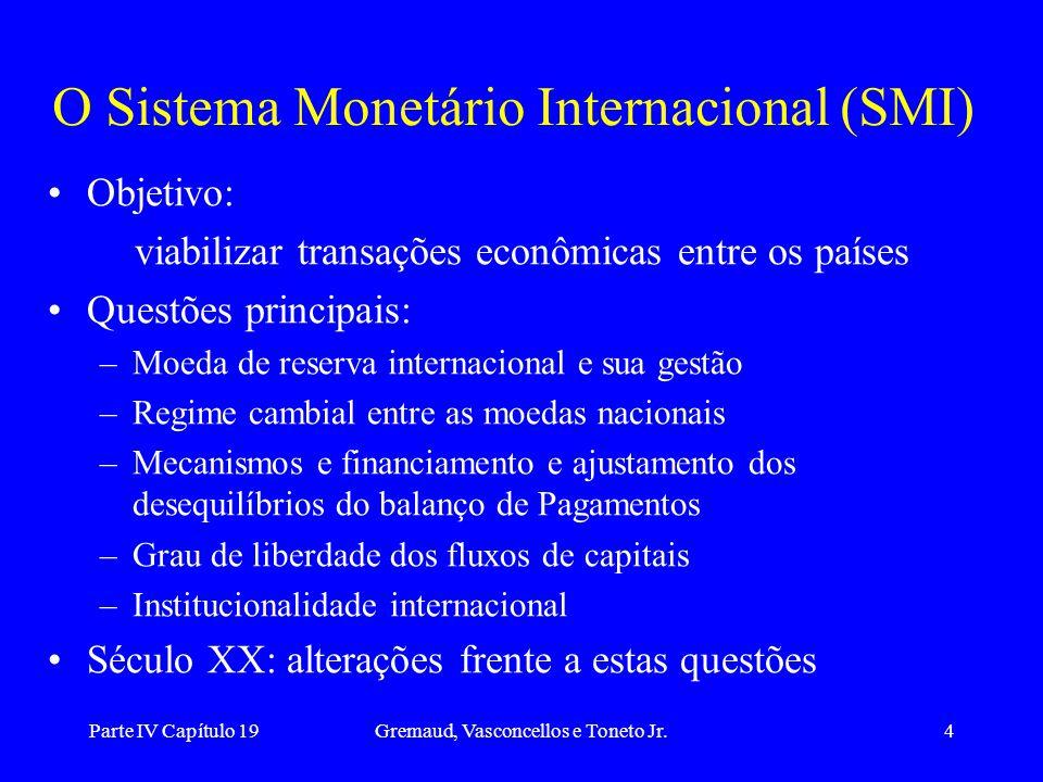 Parte IV Capítulo 19Gremaud, Vasconcellos e Toneto Jr.4 O Sistema Monetário Internacional (SMI) Objetivo: viabilizar transações econômicas entre os pa