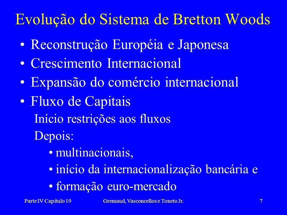 Parte IV Capítulo 19Gremaud, Vasconcellos e Toneto Jr.7 Evolução do Sistema de Bretton Woods Reconstrução Européia e Japonesa Crescimento Internaciona