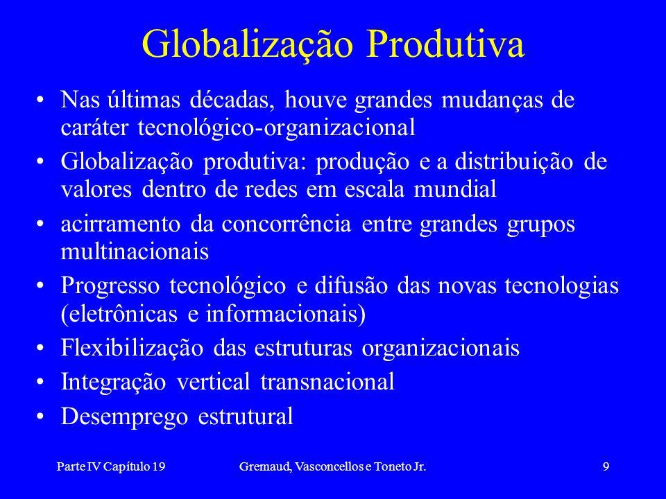 Parte IV Capítulo 19Gremaud, Vasconcellos e Toneto Jr.9 Globalização Produtiva Nas últimas décadas, houve grandes mudanças de caráter tecnológico-orga