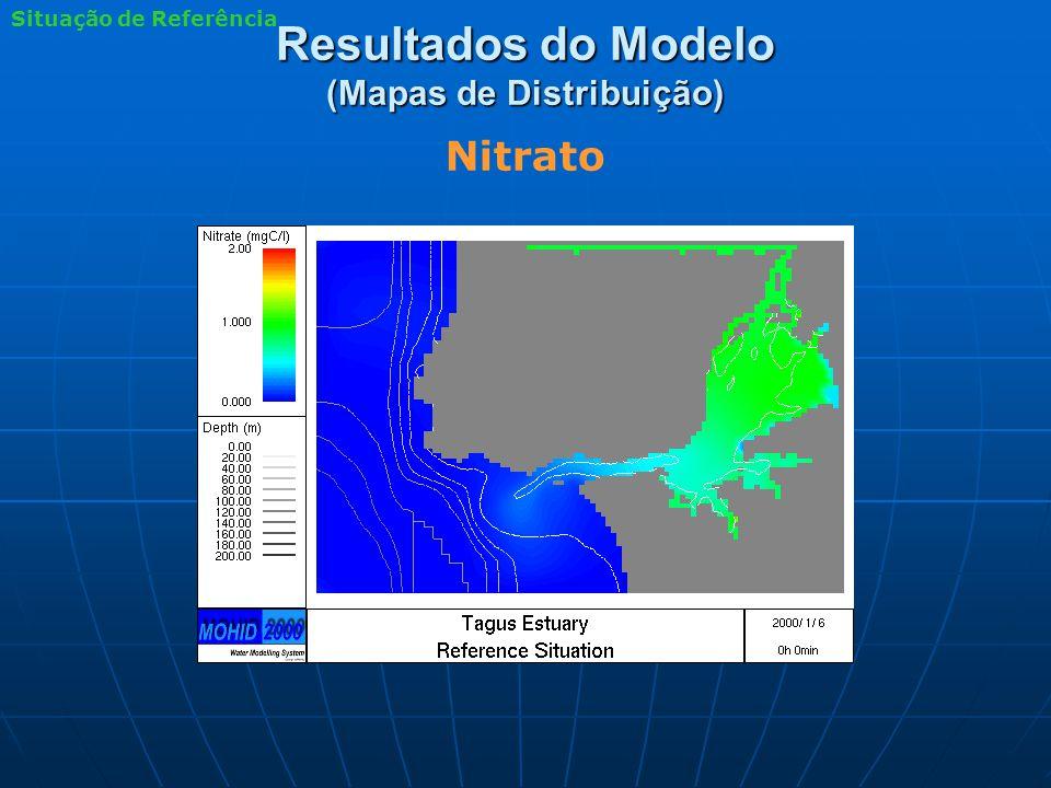 Resultados do Modelo (Mapas de Distribuição) Nitrato Situação de Referência