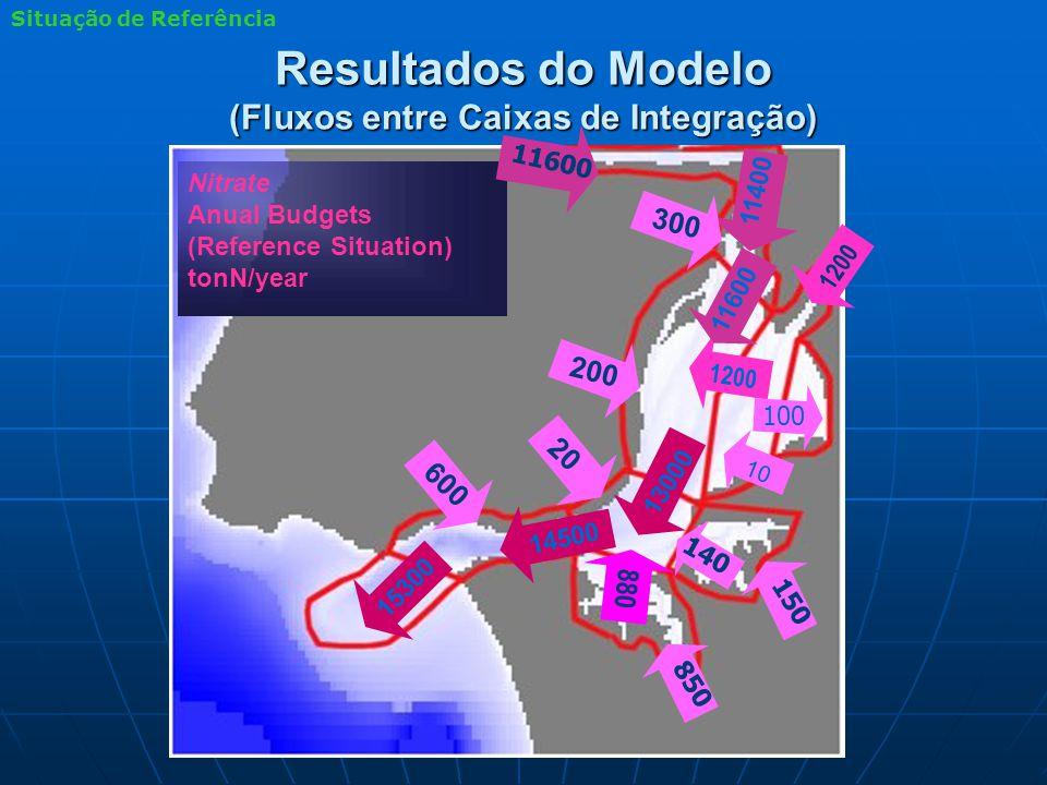 Resultados do Modelo (Fluxos entre Caixas de Integração) Nitrate Anual Budgets (Reference Situation) tonN/year 880 1200 15300 14500 13000 11600 11400 10 600 140 850 150 200 300 11600 1200 20 100 Situação de Referência