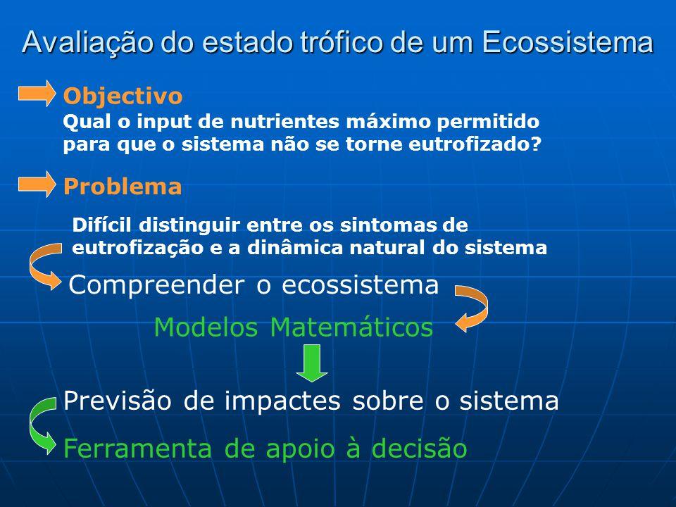Avaliação do estado trófico de um Ecossistema Qual o input de nutrientes máximo permitido para que o sistema não se torne eutrofizado.