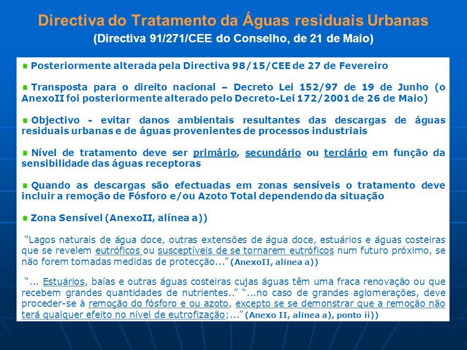 Directiva do Tratamento da Águas residuais Urbanas (Directiva 91/271/CEE do Conselho, de 21 de Maio) Posteriormente alterada pela Directiva 98/15/CEE de 27 de Fevereiro Transposta para o direito nacional – Decreto Lei 152/97 de 19 de Junho (o AnexoII foi posteriormente alterado pelo Decreto-Lei 172/2001 de 26 de Maio) Objectivo - evitar danos ambientais resultantes das descargas de águas residuais urbanas e de águas provenientes de processos industriais Nível de tratamento deve ser primário, secundário ou terciário em função da sensibilidade das águas receptoras Quando as descargas são efectuadas em zonas sensíveis o tratamento deve incluir a remoção de Fósforo e/ou Azoto Total dependendo da situação Zona Sensível (AnexoII, alínea a)) Lagos naturais de água doce, outras extensões de água doce, estuários e águas costeiras que se revelem eutróficos ou susceptíveis de se tornarem eutróficos num futuro próximo, se não forem tomadas medidas de protecção... (AnexoII, alínea a)) ...