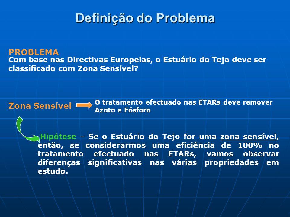 Definição do Problema PROBLEMA Com base nas Directivas Europeias, o Estuário do Tejo deve ser classificado com Zona Sensível.