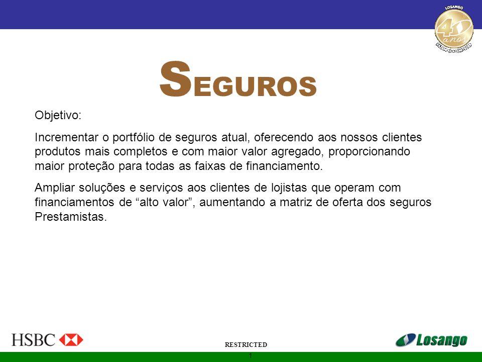 1 RESTRICTED S EGUROS Objetivo: Incrementar o portfólio de seguros atual, oferecendo aos nossos clientes produtos mais completos e com maior valor agr