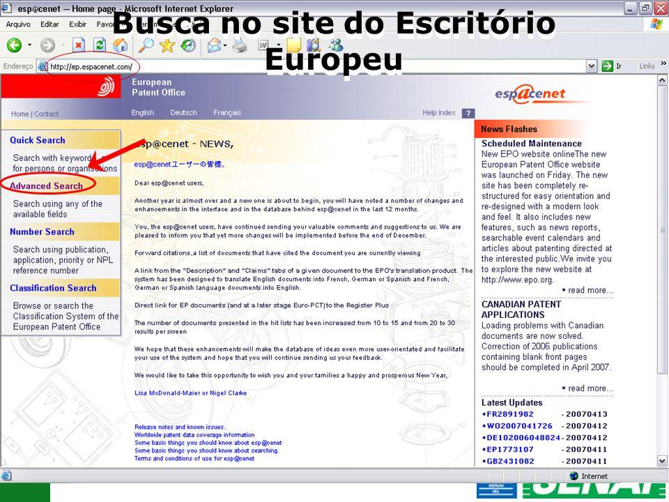17 Busca no site do Escritório Europeu