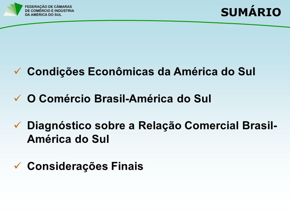 SUMÁRIO Condições Econômicas da América do Sul O Comércio Brasil-América do Sul Diagnóstico sobre a Relação Comercial Brasil- América do Sul Considerações Finais