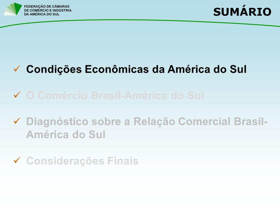 SUMÁRIO Condições Econômicas da América do Sul O Comércio Brasil-América do Sul Diagnóstico sobre a Relação Comercial Brasil- América do Sul Considera