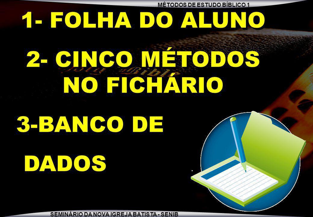 MÉTODOS DE ESTUDO BÍBLICO 1 SEMINÁRIO DA NOVA IGREJA BATISTA - SENIB 1- FOLHA DO ALUNO 2- CINCO MÉTODOS NO FICHÁRIO 3-BANCO DE DADOS 1- FOLHA DO ALUNO 2- CINCO MÉTODOS NO FICHÁRIO 3-BANCO DE DADOS