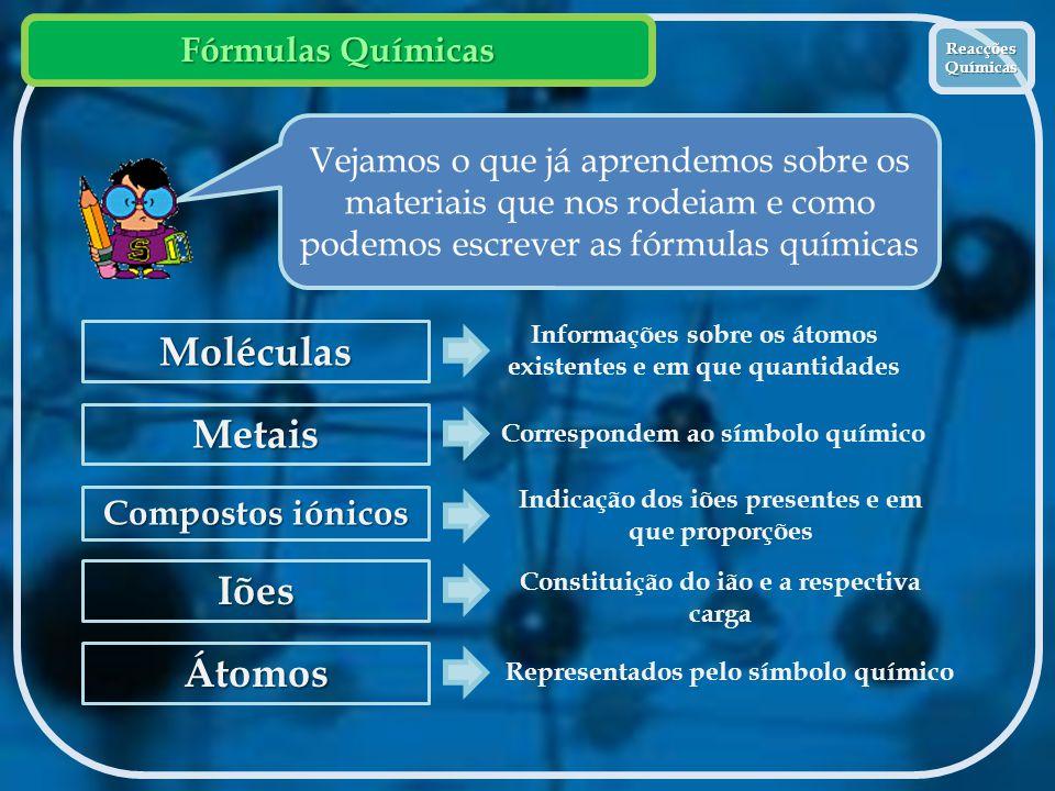 Fórmulas Químicas Reacções Químicas Reacções Químicas Vejamos o que já aprendemos sobre os materiais que nos rodeiam e como podemos escrever as fórmul