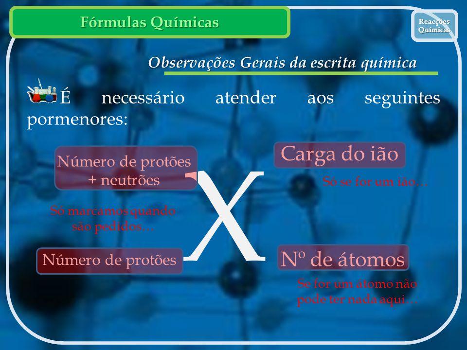 Fórmulas Químicas Reacções Químicas Reacções Químicas Observações Gerais da escrita química É necessário atender aos seguintes pormenores: X Carga do
