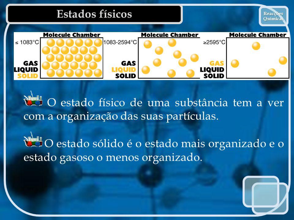 Estados físicos Reacções Químicas Reacções Químicas O estado físico de uma substância tem a ver com a organização das suas partículas. O estado sólido