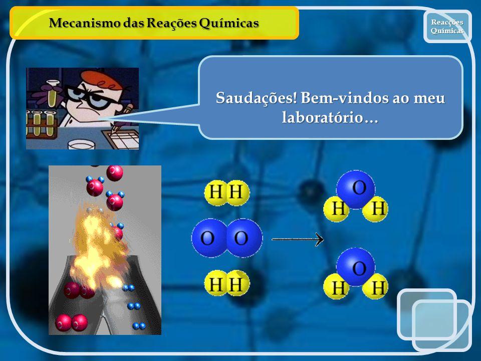 Mecanismo das Reações Químicas Saudações! Bem-vindos ao meu laboratório… Reacções Químicas Reacções Químicas