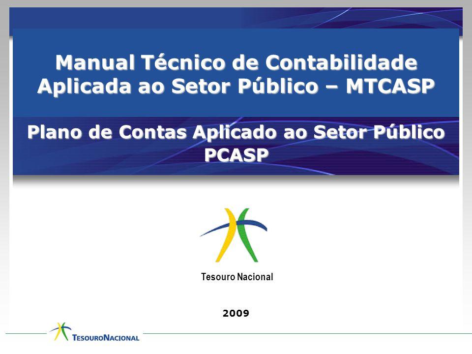 Manual Técnico de Contabilidade Aplicada ao Setor Público – MTCASP Plano de Contas Aplicado ao Setor Público PCASP 2009 Tesouro Nacional