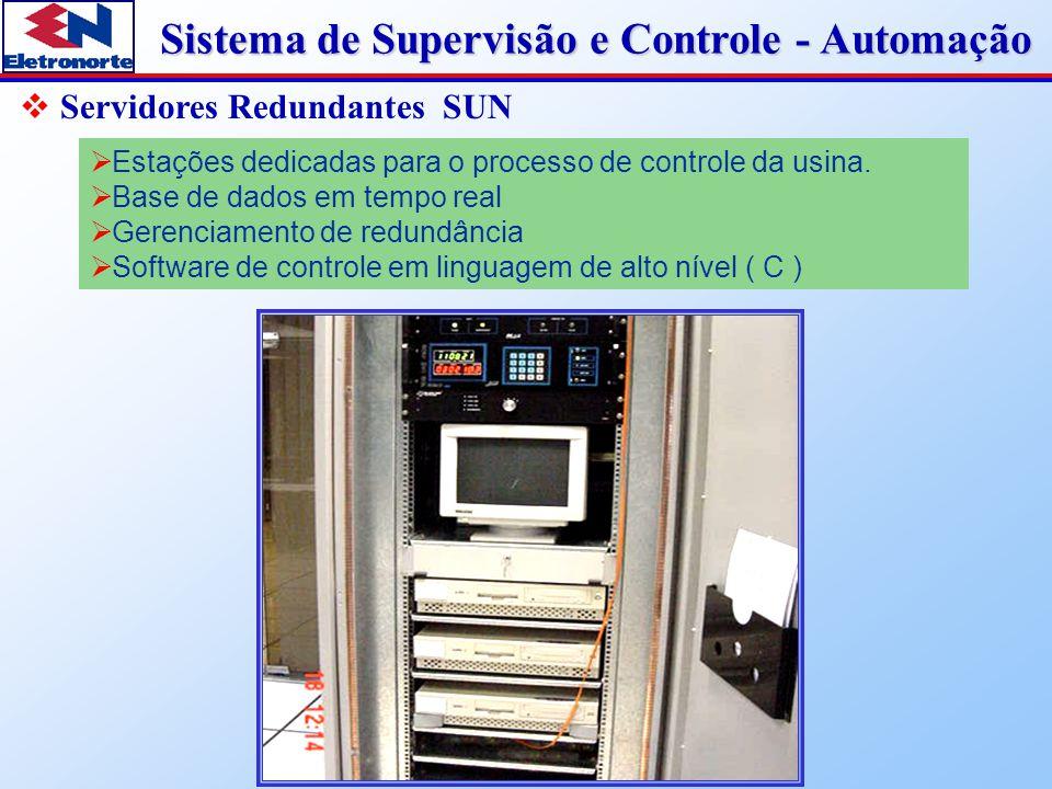 Sistema de Supervisão e Controle - Automação  Servidores Redundantes SUN  Estações dedicadas para o processo de controle da usina.  Base de dados e