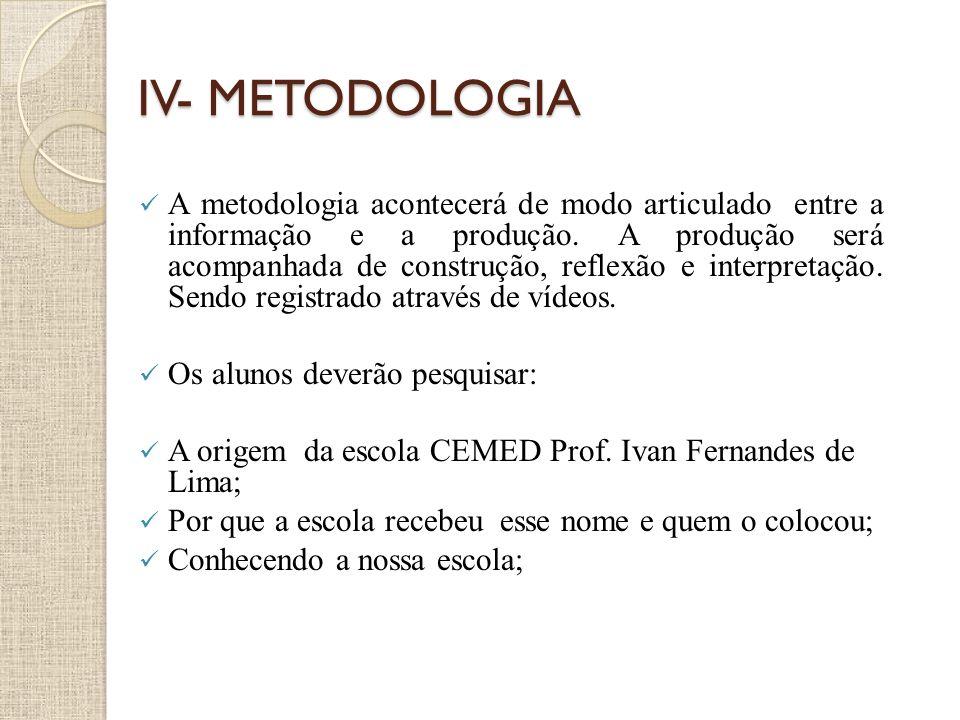IV- METODOLOGIA A metodologia acontecerá de modo articulado entre a informação e a produção. A produção será acompanhada de construção, reflexão e int