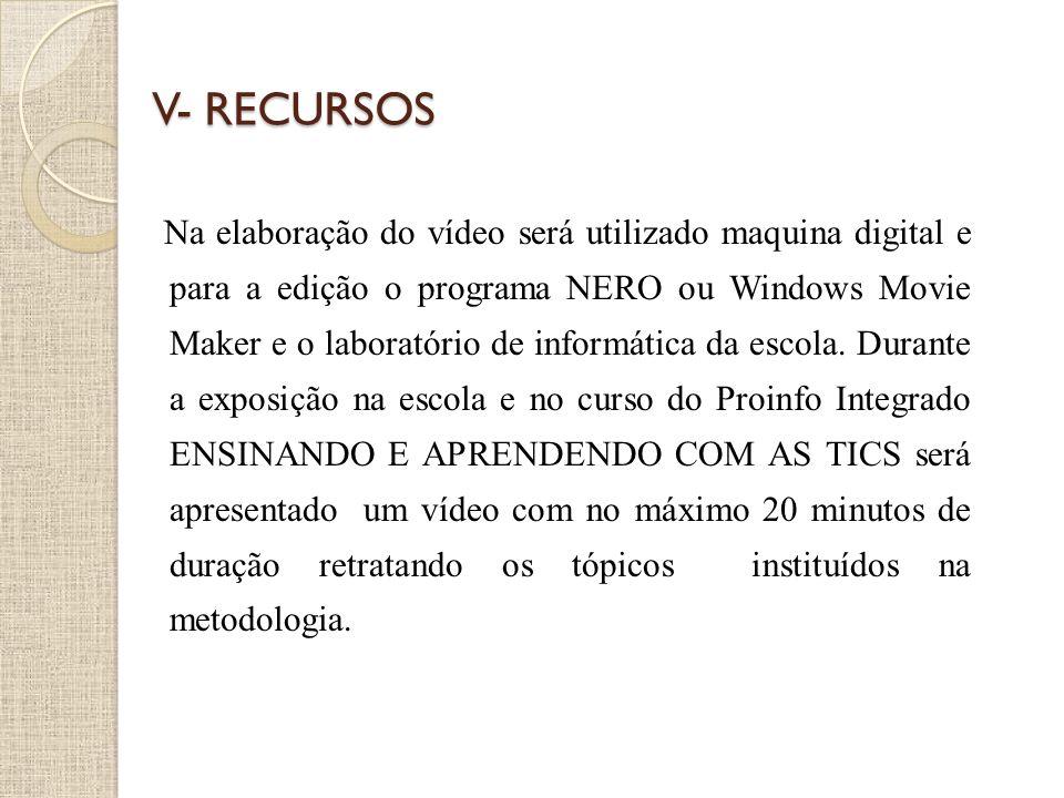 V- RECURSOS Na elaboração do vídeo será utilizado maquina digital e para a edição o programa NERO ou Windows Movie Maker e o laboratório de informátic