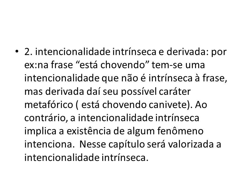 """2. intencionalidade intrínseca e derivada: por ex:na frase """"está chovendo"""" tem-se uma intencionalidade que não é intrínseca à frase, mas derivada daí"""