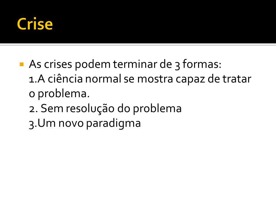 As crises podem terminar de 3 formas: 1.A ciência normal se mostra capaz de tratar o problema. 2. Sem resolução do problema 3.Um novo paradigma