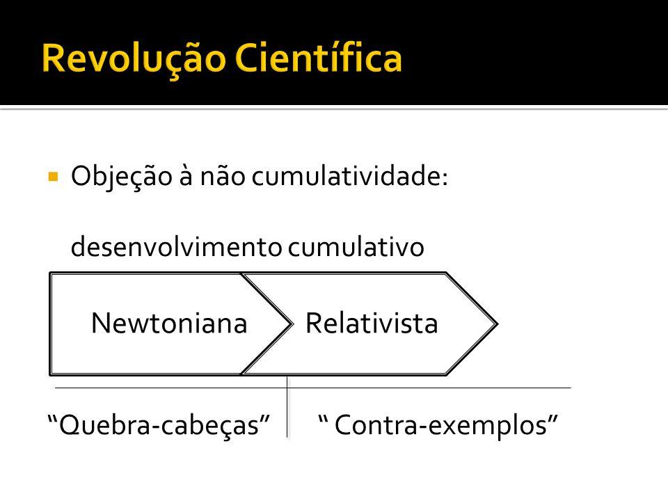 """ Objeção à não cumulatividade: desenvolvimento cumulativo """"Quebra-cabeças"""" """" Contra-exemplos"""" NewtonianaRelativista"""