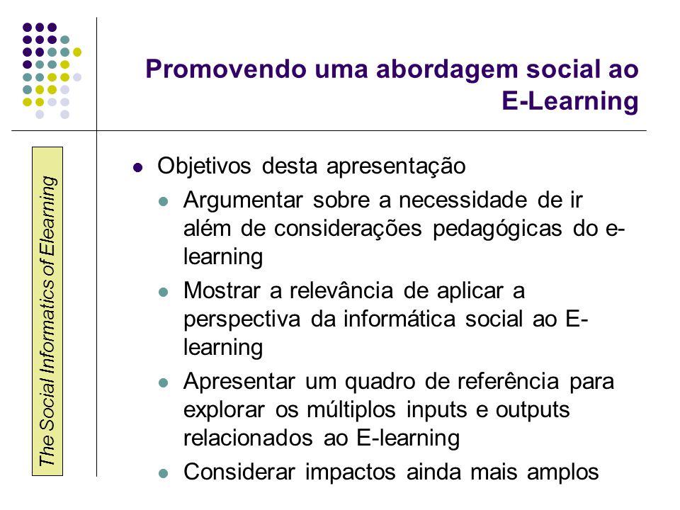 The Social Informatics of Elearning O que é informática social.