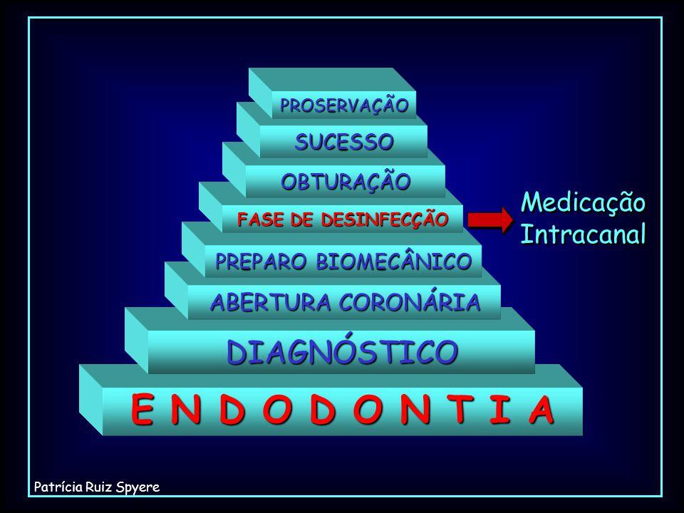 E N D O D O N T I A DIAGNÓSTICO ABERTURA CORONÁRIA PREPARO BIOMECÂNICO FASE DE DESINFECÇÃO OBTURAÇÃO SUCESSO PROSERVAÇÃO Medicação Intracanal Medicaçã