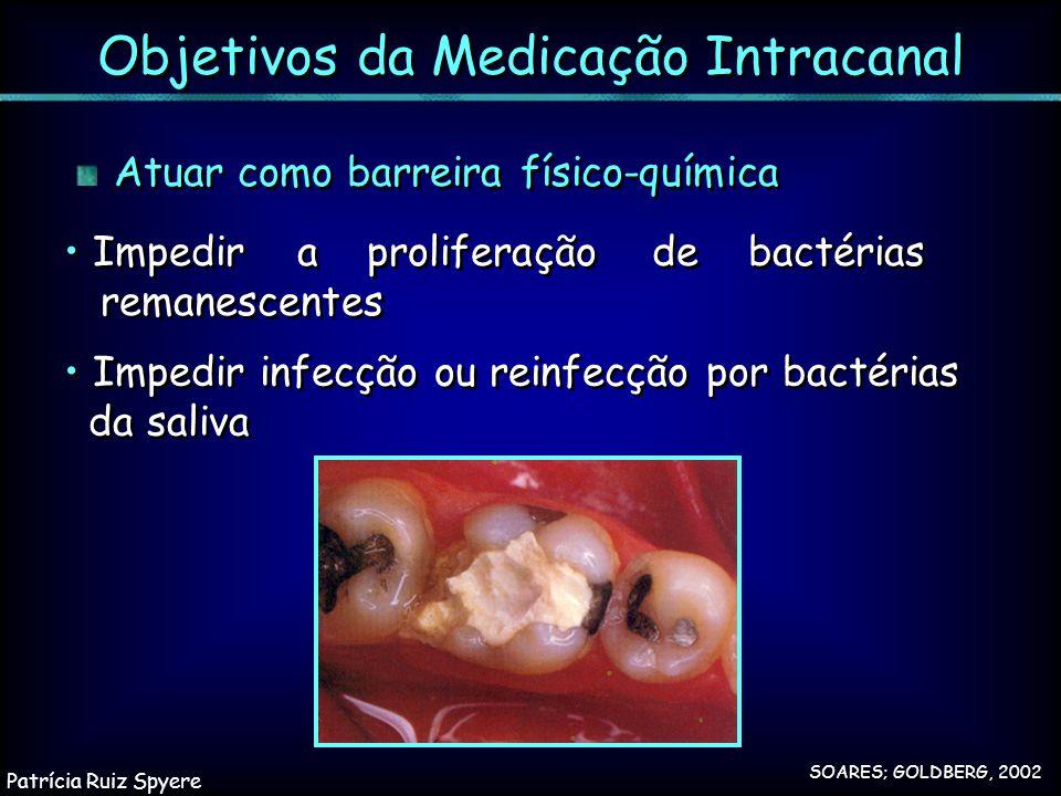 Atuar como barreira físico-química Objetivos da Medicação Intracanal SOARES; GOLDBERG, 2002 Impedir infecção ou reinfecção por bactérias da saliva Imp