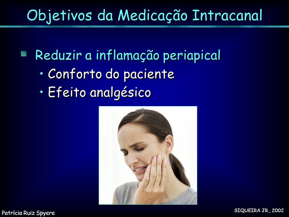 Reduzir a inflamação periapical Conforto do paciente Efeito analgésico Reduzir a inflamação periapical Conforto do paciente Efeito analgésico Objetivo
