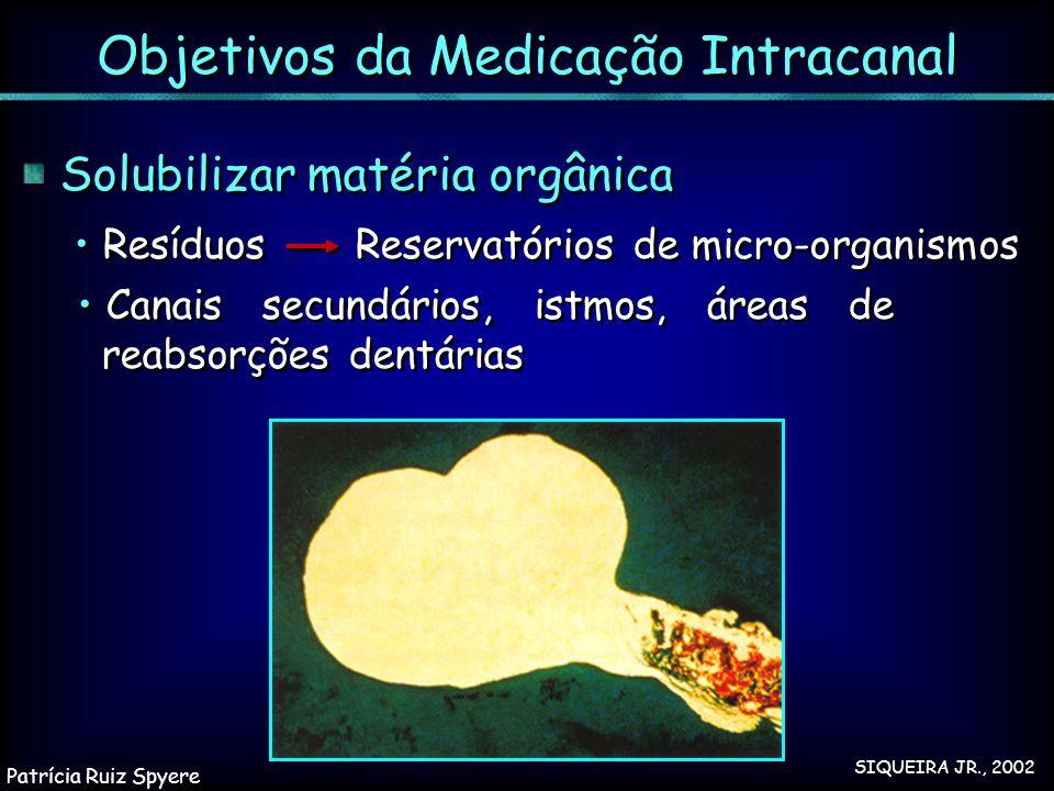 Solubilizar matéria orgânica Resíduos Reservatórios de micro-organismos Canais secundários, istmos, áreas de reabsorções dentárias Solubilizar matéria