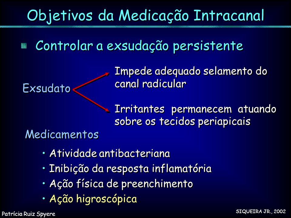 Controlar a exsudação persistente Exsudato Medicamentos Atividade antibacteriana Inibição da resposta inflamatória Ação física de preenchimento Ação h