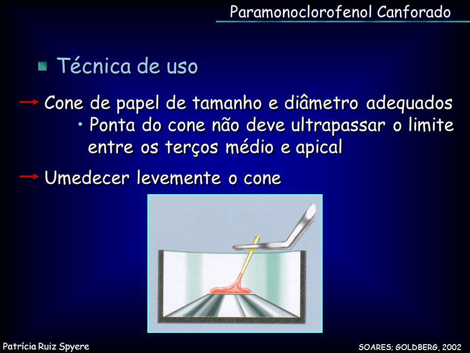 Técnica de uso Cone de papel de tamanho e diâmetro adequados Ponta do cone não deve ultrapassar o limite entre os terços médio e apical Umedecer levem