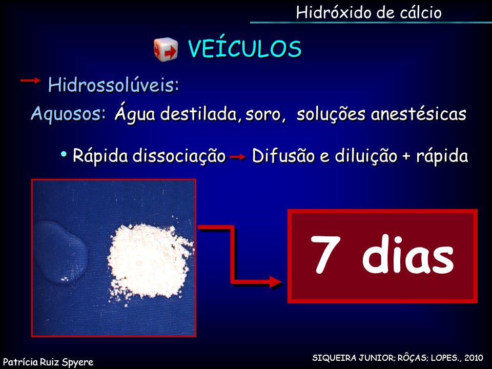 Hidrossolúveis: Aquosos: Água destilada, soro, soluções anestésicas SIQUEIRA JUNIOR; RÔÇAS; LOPES., 2010 Hidróxido de cálcio VEÍCULOS 7 dias Rápida di
