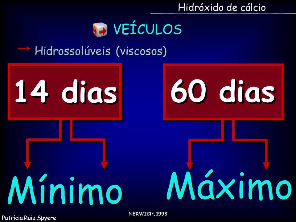Mínimo 14 dias 60 dias Máximo NERWICH, 1993 Hidróxido de cálcio Hidrossolúveis (viscosos) VEÍCULOS Patrícia Ruiz Spyere