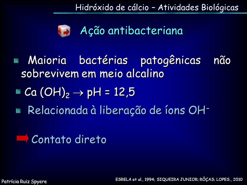 Ação antibacteriana Contato direto Maioria bactérias patogênicas não sobrevivem em meio alcalino Ca (OH) 2  pH = 12,5 Relacionada à liberação de íons