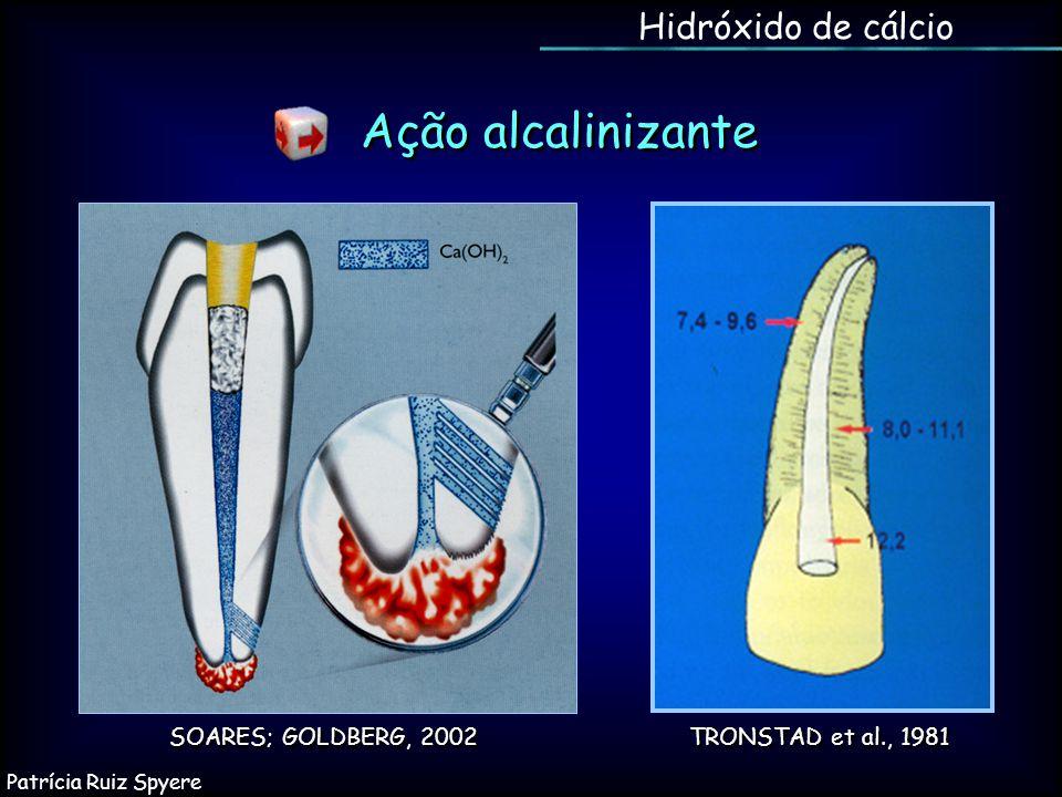 Ação alcalinizante Hidróxido de cálcio SOARES; GOLDBERG, 2002 TRONSTAD et al., 1981 Patrícia Ruiz Spyere