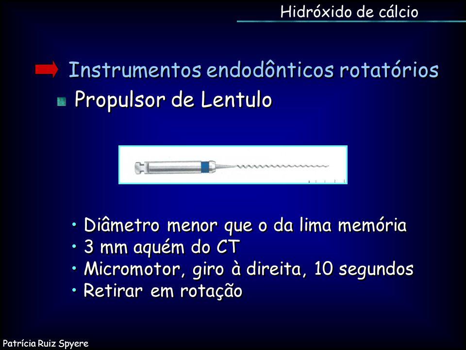 Instrumentos endodônticos rotatórios Propulsor de Lentulo Instrumentos endodônticos rotatórios Propulsor de Lentulo Hidróxido de cálcio Diâmetro menor
