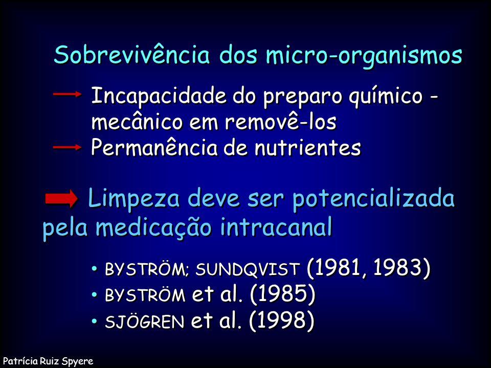 Limpeza deve ser potencializada pela medicação intracanal BYSTRÖM; SUNDQVIST (1981, 1983) BYSTRÖM et al. (1985) SJÖGREN et al. (1998) Limpeza deve ser