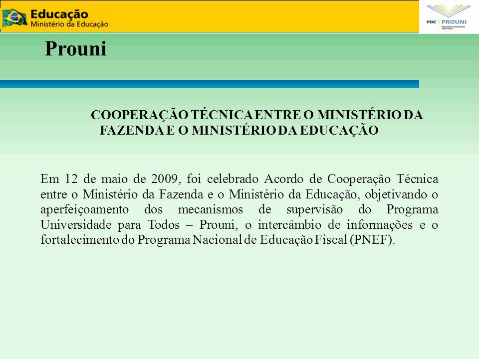 Prouni COOPERAÇÃO TÉCNICA ENTRE O MINISTÉRIO DA FAZENDA E O MINISTÉRIO DA EDUCAÇÃO Em 12 de maio de 2009, foi celebrado Acordo de Cooperação Técnica e