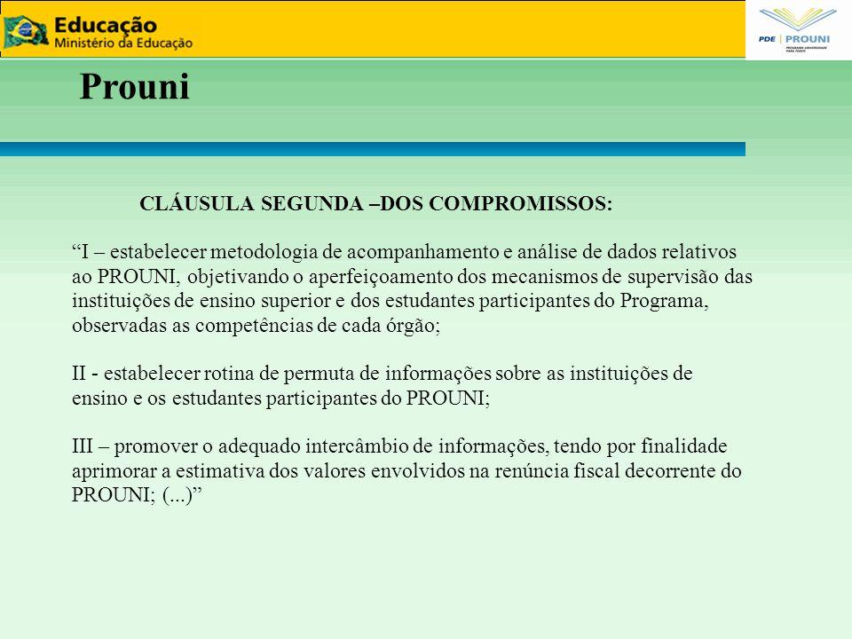 """Prouni CLÁUSULA SEGUNDA –DOS COMPROMISSOS: """"I – estabelecer metodologia de acompanhamento e análise de dados relativos ao PROUNI, objetivando o aperfe"""