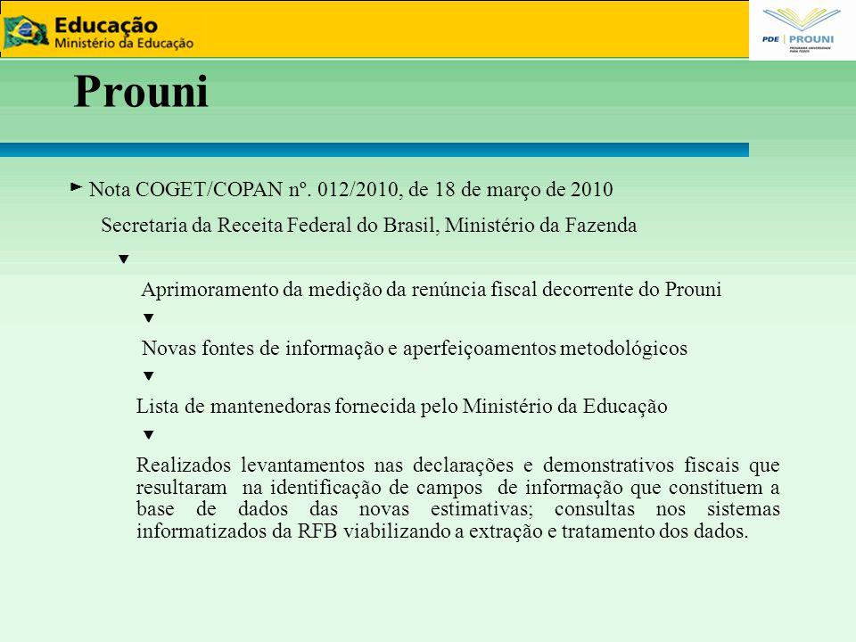 Prouni ► Nota COGET/COPAN nº. 012/2010, de 18 de março de 2010 Secretaria da Receita Federal do Brasil, Ministério da Fazenda ▼ Aprimoramento da mediç