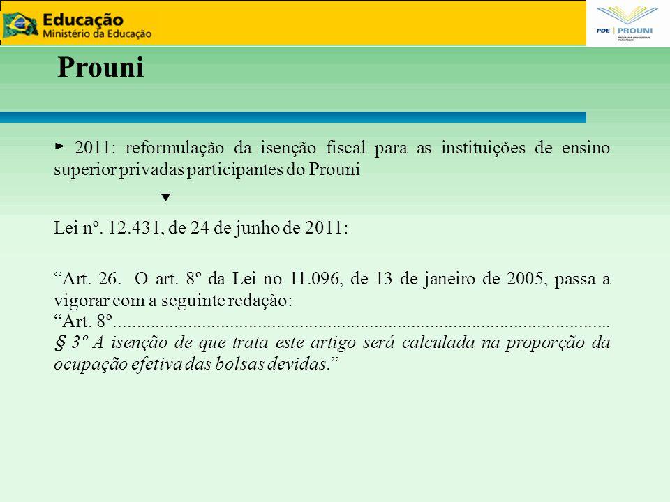 Prouni ► 2011: reformulação da isenção fiscal para as instituições de ensino superior privadas participantes do Prouni ▼ Lei nº. 12.431, de 24 de junh