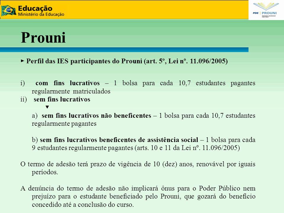 ► Perfil das IES participantes do Prouni (art. 5º, Lei nº. 11.096/2005) i) com fins lucrativos – 1 bolsa para cada 10,7 estudantes pagantes regularmen